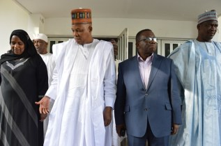 The Permanent Secretary,FMOH,Mrs. Binta Adamu Bello,The Governor of Borno State ,Hon. Kashim Shettima and The Hon. Minister of Health,Prof. Isaac Adewole,during the presentation of essential medicals and supplies in Borno State.