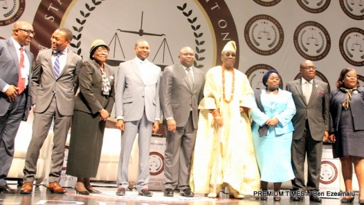 L-R: Lagos State Governor, Mr. Akinwunmi Ambode (middle); Principal Partner, Bayo Ojo & Co., Barr. Bayo Ojo (SAN); Judge of the International Criminal Court, Mr. Chile Eboe-Osuji; representative of Chief Justice of Nigeria, Justice Clara Bata Ogunbiyi; representative of the Vice President, Attorney-General & Minister of Justice, Mr. Abubakar Malami; Oba of Lagos, Oba Rilwan Akiolu I; Deputy Governor, Dr. (Mrs) Oluranti Adebule; Attorney-General & Commissioner for Justice, Mr. Adeniji Kazeem and Chief Judge of Lagos State, Justice Olufunmilayo Atilade during the Administration of Justice Summit organised by the Lagos State Ministry of Justice at the Eko Hotels & Suites, Victoria Island, Lagos, on Monday, January 30, 2017.