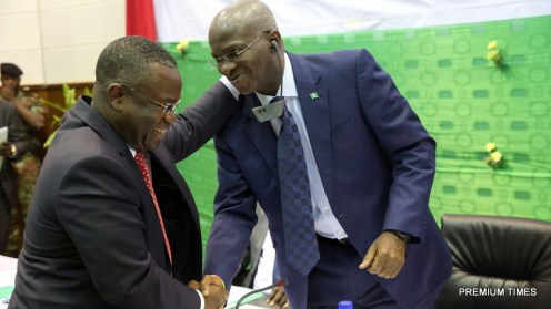 Hon. Minister of Power, Works & Housing, Mr Babatunde Fashola, SAN(right) and Minister of Mines, Energy and Water of Benin, Mr Jean – Claude Houssou (left)during the Forum on Electricity Market Development in West Africa organized by the West African Power Pool (WAPP) at the Palais des Congres, Cotonou, Benin Republic on Monday 16th, January 2017.