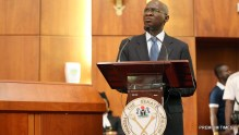 Minister of Power, Works & Housing, Mr Babatunde Fashola, SAN  during a Briefing of the Senate on the Planned Closure of the Nnamdi Azikwe International Airport, Abuja Runway for Repairs at the Senate Chamber on Tuesday, 17th January  2017.
