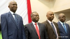 Hon. Minister of Power, Works & Housing, Mr Babatunde Fashola, SAN(left), Minister of Mines, Energy and Water of Benin, Mr Jean – Claude Houssou (2nd left), Managing Director, Transmission Company of Nigeria (TCN), Dr. Abubakar Atiku (2nd right) ,Secretary General of West African Power Pool (WAPP), Siengui Apollinaire Ki ( right) in a group photograph shortly after the Opening Session of the Forum on Electricity Market Development in West Africa organized by the West African Power Pool (WAPP) at the Palais des Congres, Cotonou, Benin Republic on Monday 16th, January 2017.