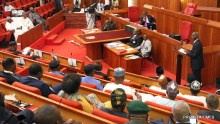 Minister of Power, Works & Housing, Mr Babatunde Fashola, SAN (middle) and others during a Briefing of the Senate on the Planned Closure of the Nnamdi Azikwe International Airport, Abuja Runway for Repairs at the Senate Chamber on Tuesday, 17th January  2017.