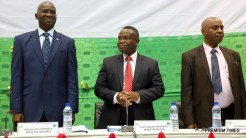 Hon. Minister of Power, Works & Housing, Mr Babatunde Fashola, SAN (left), Minister of Mines, Energy and Water of Benin, Mr Jean – Claude Houssou(middle) and Managing Director, Transmission Company of Nigeria (TCN), Dr. Abubakar Atiku (right) during the Forum on Electricity Market Development in West Africa organized by the West African Power Pool (WAPP) at the Palais des Congres, Cotonou, Benin Republic on Monday 16th, January 2017.
