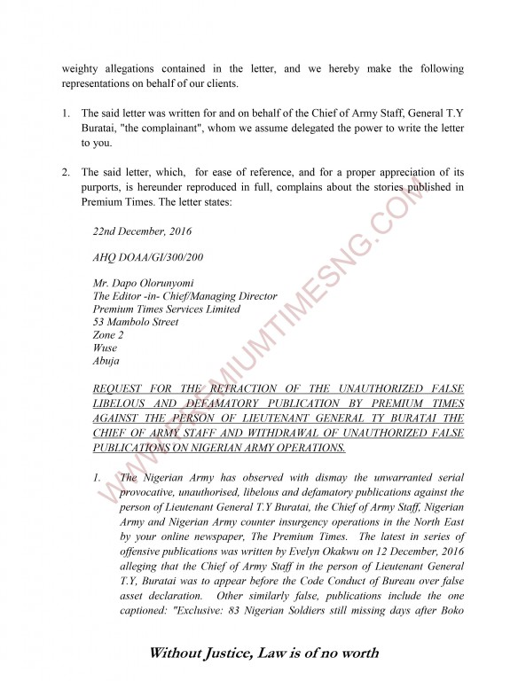 Premium Times Letter to Gen Alkali and Nigerian Army-2