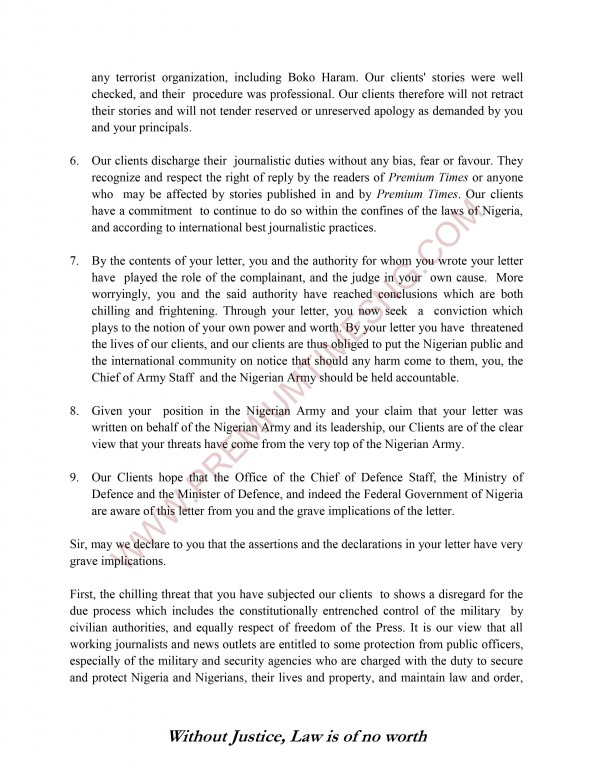 Premium Times Letter to Gen Alkali and Nigerian Army-5