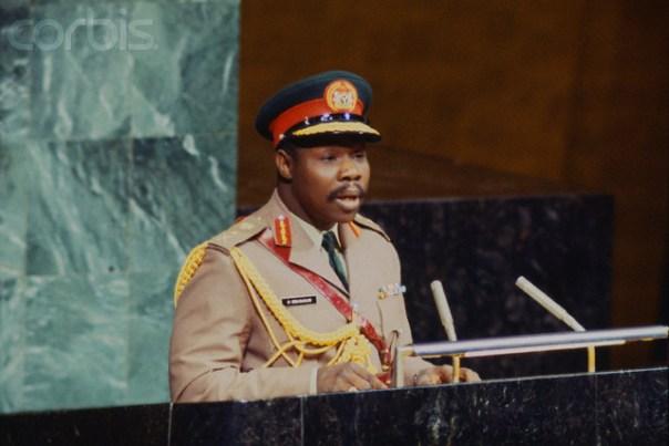 12 Oct 1977, Manhattan, New York, USA: Lt. General Olusegun Obasanjo of Nigeria addressing the United Nations. [Photo Credit: CORBIS]