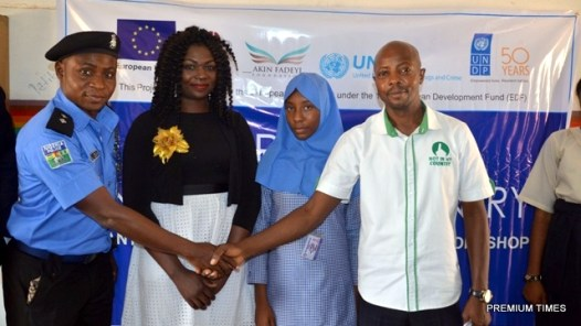 L-R: Assistant Superintendent of Police, Mr. Usman Nuhu; Project Coordinator, Speakers' Corner Trust Nigeria,  Miss Marilyn Ogbebor; a Student of Government Girls Secondary School, Dutse, Miss Abimbola Idris; and Project Officer, Akin Fadeyi Foundation, Mr. Ganiyu Olowu during the European Union (EU) /UNDP Anti-Corruption Capacity Building workshop  in Dutse, Abuja recently.