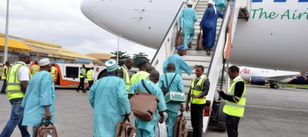 Hajj pilgrims travelling after being cleared by NAHCON