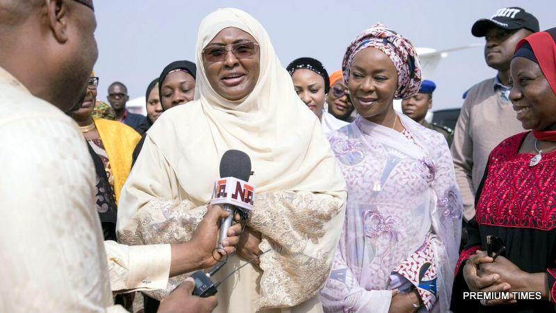 Aisha Buhari speaking to the press on arrival at the Nnamdi Azikiwe International Airport, Abuja