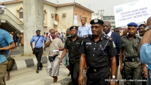 Lagos Commissioner of Police, Fatai Owoseni leading the police force during the protest