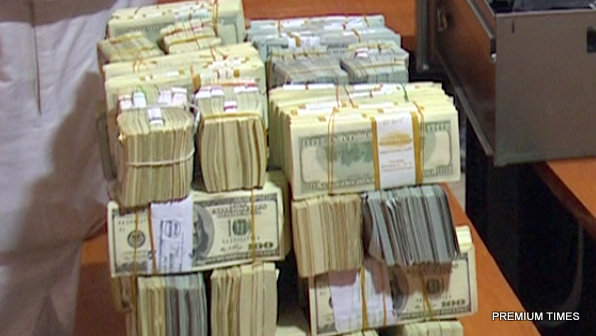 The bundles of cash recovered from Former GMD of NNPC, Andrew Yakubu's residence