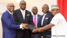Lagos State Governor, Mr. Akinwunmi Ambode (2nd right), Chairman, House Committee on Energy, Hon. Folajimi Mohammed (right); Commissioner for Energy & Mineral Resources, Mr. Olawale Oluwo (middle); Chairman, Egbin Power Plc., Mr. Kola Adesina (2nd left) and Chairman, Eko Distribution Company, Mr. Charles Momoh (left) during the presentation of the Embedded Power Initiative report to the Governor by the Technical Committee at the Lagos House, Ikeja, on Wednesday,February 15, 2017.