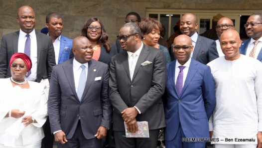 Lagos State Governor, Mr. Akinwunmi Ambode (2nd left), Deputy Governor, Dr. (Mrs) Oluranti Adebule; Chairman, Egbin Power Plc., Mr. Kola Adesina; Chairman, Eko Distribution Company, Mr. Charles Momoh; Dircetor, Eko Disco, Mr. Ernest Oji and other members of the Power Technical Committee during the presentation of the Embedded Power Initiative report to the Governor at the Lagos House, Ikeja, on Wednesday,February 15, 2017.