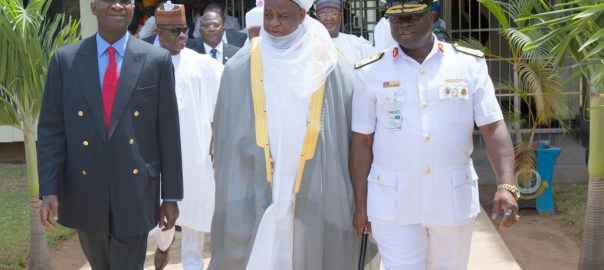 """Hon. Minister of Power, Works & Housing, Mr Babatunde Fashola,SAN(left),Commandant National Defence College, Rear Admiral Samuel Ilesanmi Alade(right) and Sultan of Sokoto, Sa'ad Abubakar III (middle) shortly after the Opening Session of the  7th Edition of the National Security Seminar 2017 organized by the Alumni Association of the National Defence College with the theme, """"Consolidating on the Gains of Counter Terrorism Operations in Nigeria,"""" at the National Defence College Auditorium, Abuja on Tuesday 21st, February 2017."""