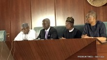 Audu Ogbeh, Babatunde Fashola, Lai Mohammed and Okechukwu Enelamah briefing the media after the Federal Executive Council meeting today
