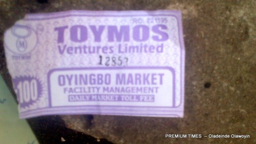 Receipts given out by 'Sempe' and other market leaders