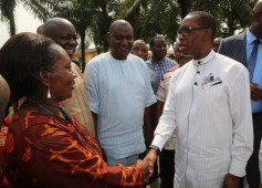 Delta State Governor, Senator Ifeanyi Okowa (right) in warm handshake with the Principal, Chude Girls Model School Sapele, (Mrs.) Adelie Ominiabors, during the Governor's Inspection of the Chude Girls Model School Hostel that was gutted by fire.