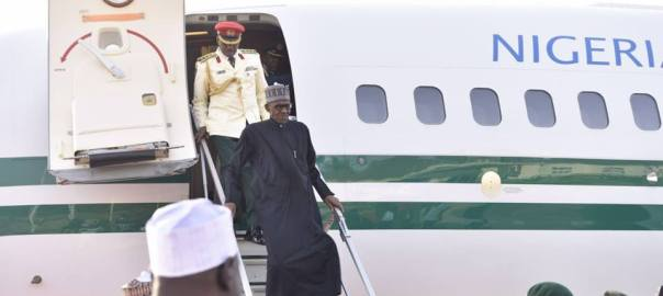 FILE PHOTO: President Buhari arriving from London in March