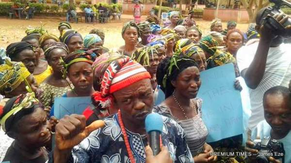 Women protesting the rape of a 70 year old woman in Ebonyi