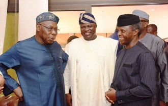 Acting President, Prof. Yemi Osinbajo (right); Lagos State Governor, Mr. Akinwunmi Ambode (middle) and former President, Chief Olusegun Obasanjo (left) during the arrival of the Acting President at the Presidential Wing of the Muritala Muhammed International Airport, Ikeja, Lagos, on Tuesday, March 7, 2017.