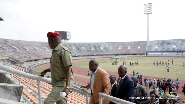 Lagos State Governor, Mr. Akinwunmi Ambode (2nd left), with the Minister of Youth and Sports, Barr. Solomon Dalung (left) during their joint inspection visit to the National Stadium, Surulere, on Wednesday, March 1, 2017.