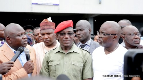 L-R: Lagos State Governor, Mr. Akinwunmi Ambode; Sport Consultant, Alhaji Hamed Shuaib; Minister of Youth and Sports, Barr. Solomon Dalung; President, Nigeria Football Federation (NFF), Mr. Amaju Pinnick and his Vice, Mr. Seyi Akinwunmi during the inspection visit to the National Stadium, Surulere, on Wednesday, March 1, 2017.