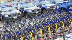 Cross view of the Patrol Vans, bicycles and gadgets for the Lagos Neigbourhood Safety Corps (LNSC) during the inauguration by Governor Akinwunmi Ambode at the Agege Mini Stadium, Lagos, on Monday, March 27, 2017.