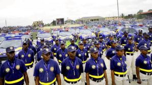 Cross view of the newly inaugurated Lagos Neigbourhood Safety Corps (LNSC) by Governor Akinwunmi Ambode at the Agege Mini Stadium, Lagos, on Monday, March 27, 2017.