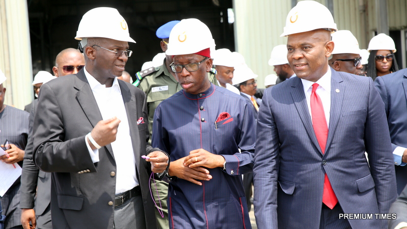 Hon. Minister of Power, Works & Housing, Mr Babatunde Fashola, SAN(left), Governor of Delta State, Dr. Ifeanyi Okowa(middle) and Chairman Transcorp Power Limited, Mr Tony Elumelu(right) during the Commissioning of  the 115 MW Gas Turbine 15 shortly before the 13th Monthly Meeting with Sectoral Participants in the Power Sector hosted by Transcorp Power Ltd in Ughelli, Delta State on Monday 13th, March 2017
