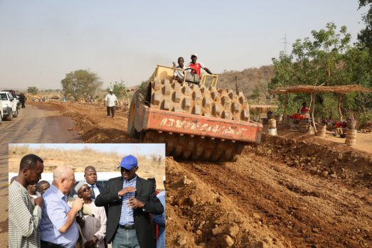The ongoing rehabilitation work on the Gombe - Numan -Yola Road Phase ll (Gombe-Kaltungo) Federal Highway.INSET: Hon. Minister of Power, Works & Housing, Mr Babatunde Fashola,SAN(right), Federal Controller of Works, Gombe State, Engr. Rugba Emenoge (left), Federal Controller of Housing, Taraba State, TPL Pius Eneji(2nd right), Managing Director, Messrs. Triacta Nigeria Limited, Mr Elie Farhat(2nd left) and others during the Hon. Minister's inspection tour of the Rehabilitation of Gombe -Numan -Yola Road Phase ll(Gombe-Kaltungo) in Gombe State on Friday 17, March 2017.