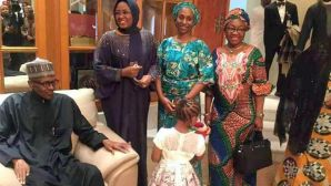 The wife of the President, Aisha Buhari with Dolapo Osinbajo welcoming President Muhammadu Buhari