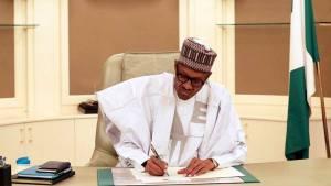 President Muhammadu Buhari at his office