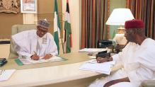 President Muhammadu Buhari and Chief of Staff, Abba Kyari at his office