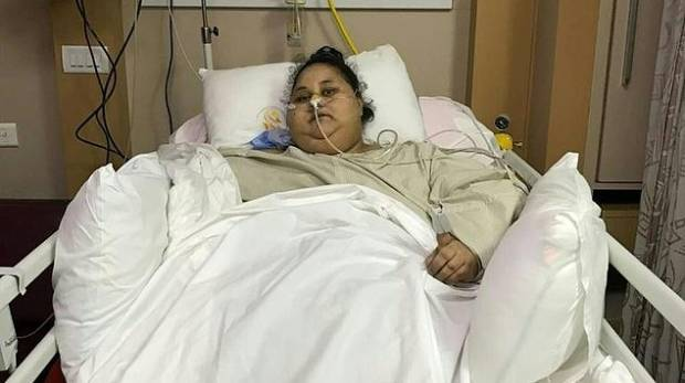 Egyptian patient Eman Ahmed Abd El Aty lies in a hospital bed at The Saifee Hospital
