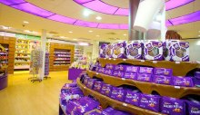 CAdbury products on a shelf
