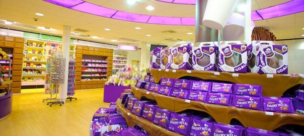 CAdbury products on a shelf