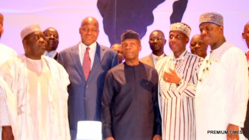From Left: Representative of the Senate President, Senator Ibn Na'ala, Speaker, House of Representative, Hon. Yakubu Dogara, Vice President Yemi Osinbajo, Minister of Transportation, Rt. Hon. Rotimi Amaechi, The Director General, NIMASA, Dr. Dakuku Peterside during the 3rd Conference of African Heads of Maritime Administration AAMA holding in Abuja.