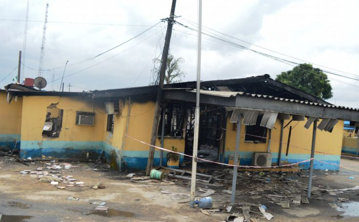 Federal Airports Authority of Nigeria Headquarters gutted by fire in Lagos on Tuesday (11/4/017).02188/11/4/2017/Olatunde Okoya/TA/ICE/NAN
