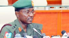 Director, Defence Information, Maj.-Gen. John Enenche, briefing Newsmen during a Monthly News Conference on Defence and Security in Abuja on Friday (28/4/17). 02329/28/4/2017/Johnson Udeani/ICE/NAN