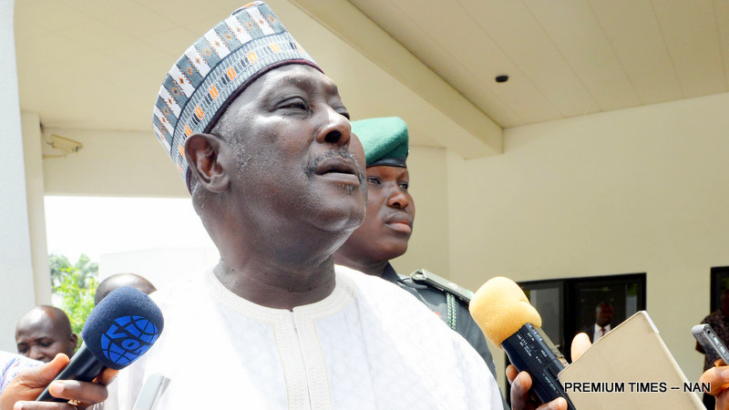 Secretary to the Government of the Federation, Babachir Lawal  briefing State House Correspondents after leaving the Presidential Villa Abuja after the announcement of his suspension in Abuja on Wednesday
