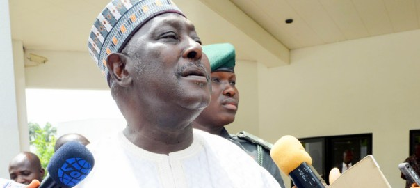 Secretary to the Government of the Federation, Babachir Lawal  briefing State House Correspondents after leaving the Presidential Villa Abuja after the announcement of his suspension in Abuja on Wednesday (19/4/17). 02296/19/4/2017/Callistus Ewelike/NAN