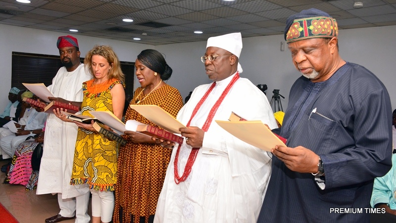 Members of the newly inaugurated Board of Arts & Culture,  Kunle Afolayan; Chairman of the Board, Mrs. PollyAlakija; Joke Silva; Mobee of Badagry, High Chief Patrick Yodenu Mobee and Mr. Kolade Oshinowo during the inauguration at the Conference room, Lagos House, Ikeja, on Wednesday, April 12, 2017.