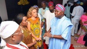 Lagos State Governor, Mr. Akinwunmi Ambode; member of the Board of Arts & Culture, Mr. Kunle Afolayan; veteran Actor, Olu Jacobs; Acting Commissioner for Tourism, Arts & Culture, Mrs. Adebimpe Akinsola; Chairman of the Board, Mrs. PollyAlakija; members, Joke Silva and Mobee of Badagry, High Chief Patrick Yodenu Mobee during the inauguration of the Board at the Conference room, Lagos House, Ikeja, on Wednesday, April 12, 2017.