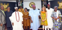 Lagos State Governor, Mr. Akinwunmi Ambode (4th right); Chairman, Board of Arts & Culture, Mrs. PollyAlakija (3rd right); member of the Board, Kunle Afolayan (2nd right); Acting Commissioner for Tourism, Arts & Culture, Mrs. Adebimpe Akinsola (right); Permanent Secretary, Ministry of Education, Mr. Adeshina Odeyemi (left); Mr. Kolade Oshinowo (2nd left); Mobee of Badagry, High Chief Patrick Yodenu Mobee (3rd left) and Joke Silva (4th left) during the inauguration of the Board at the Conference room, Lagos House, Ikeja, on Wednesday, April 12, 2017.