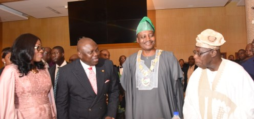 L-R: Wife of Lagos State Governor, Mrs. Bolanle Ambode; her husband, Governor Akinwunmi Ambode; President, Institute of Chartered Accountants of Nigeria (ICAN), Deacon Titus Soetan; former President, Chief Olusegun Obasanjo during the ICAN 2017 Annual Dinner and Awards at the Oriental Hotel, Lekki-Epe Expressway, Lagos, on Friday, April 29, 2017.