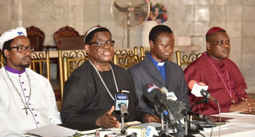 L-R: Secretary, Christian Association of Nigeria (CAN) Lagos State, Elder Israel Akinadewo; Chairman, CAN Lagos State, Apostle Alexander Bamgbola; Vice Chairman, CAN, Rev. Emmanuel Oguntoshin and Treasurer, Rt. Rev. Stephen Adegbite during a press briefing by CAN at the Chapel of Christ The Light, Alausa, Ikeja, on Tuesday, May 30, 2017.
