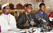 FILE: L-R: Secretary, Christian Association of Nigeria (CAN) Lagos State, Elder Israel Akinadewo; Chairman, Apostle Alexander Bamgbola and Vice Chairman, CAN Lagos State, Rev. Emmanuel Oguntoshin during a press briefing by CAN at the Chapel of Christ The Light, Alausa, Ikeja, on Tuesday, May 30, 2017.