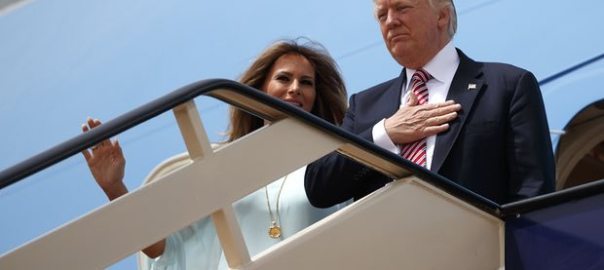 Donald and Melania Trump board Air Force One in Riyadh for flight to Israel. Photograph: Evan Vucci/AP  [Photo Credit: The Guardian]