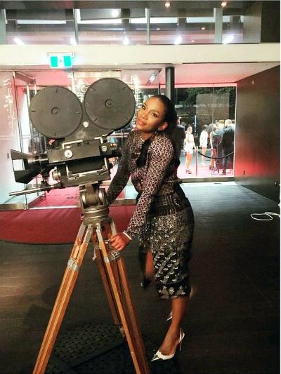 Genevieve on set