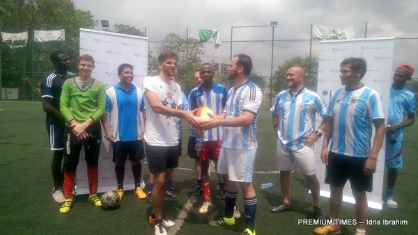 German embassy football tournament for the new Kuchingoro Internally Displaced Persons, IDP and international team at the River Plate Turf Arena, Abuja.